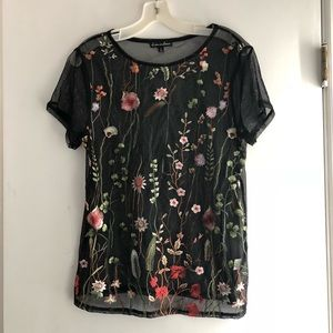 Sheer Top with Embroidered Flowers